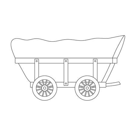 Wild west wagon vector outline icon.Vector illustration western of old carriage on white background .Isolated outline icon wild west wagon.