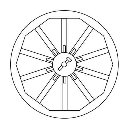 Wheel cart vector outline icon. Vector illustration wood cartwheel on white background. Isolated outline illustration icon of wood wheel cart. Vector Illustratie