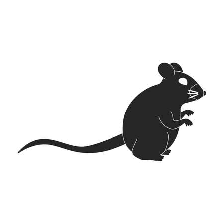 Mouse vector black icon. Vector illustration rat on white background. Isolated black illustration icon of mouse . Vecteurs