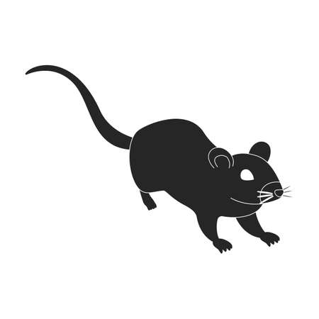 Mouse vector black icon. Vector illustration rat on white background. Isolated black illustration icon of mouse .