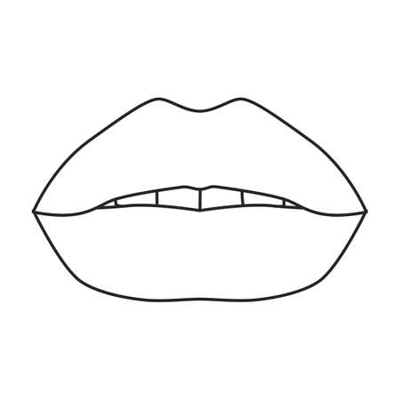 Female lip vector outline icon. Vector illustration mouth on white background. Isolated outline illustration icon of female lip .