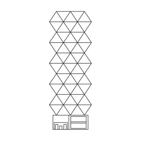 Building high vector outline icon. Vector illustration skyscraper on white background. Isolated outline illustration icon of building high . 矢量图像