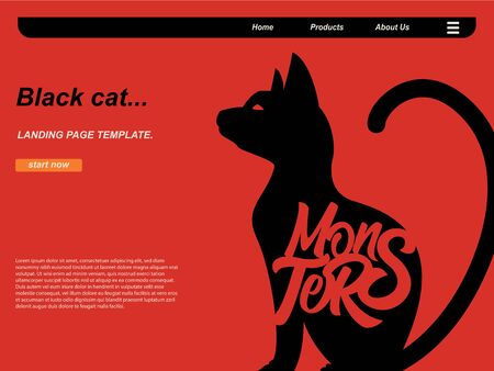 halloween cartoon scene with silhouette cat and monsters typography using red background. landing page website design template, background and banner Standard-Bild - 130110600