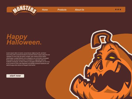 cartoon halloween scene with pumpkin. landing page website design template, background and banner  イラスト・ベクター素材