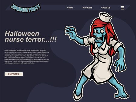 purple halloween scene with cartoon zombie nurse wearing white dress and red hair. landing page website design template, background and banner