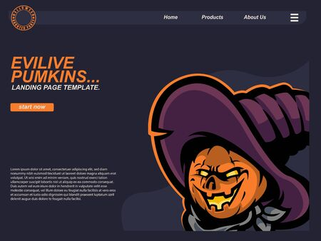 cartoon halloween scene with scared crow pumpkin. landing page website design template, background and banner
