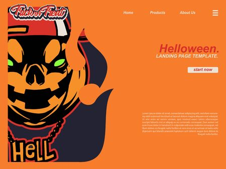 cartoon halloween hell scene with pumpkin wearing snap back and hell name necklace. landing page website design template, background and banner