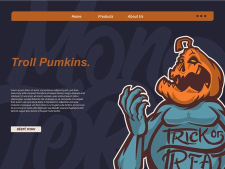 halloween scene with scary troll pumpkin cartoon style. landing page website design template, background and banner
