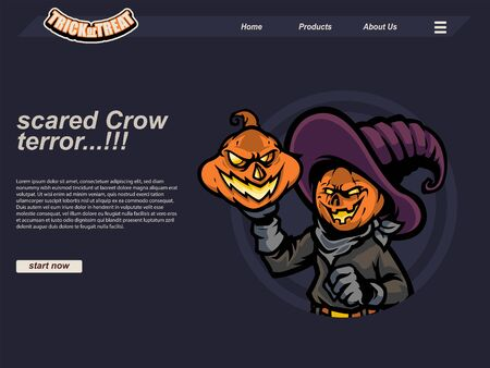 halloween scene with pumpkin and scared crow wearing witch hat and gloves. landing page website design template, background and banner 写真素材 - 129995158