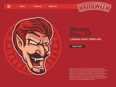 cartoon halloween scene with dracula head smiling and scary face. landing page website design template, background and banner