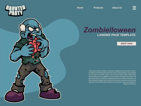 halloween cartoon scene with an old standing zombie eating brain. landing page website design template, background and banner