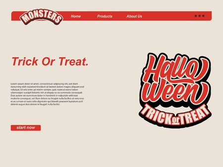 halloween cartoon scene with typography halloween and trick or trick text. landing page website design template, background and banner Çizim
