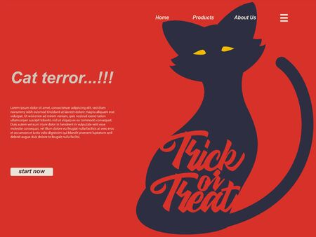 halloween cartoon scene with silhouette cat and trick or trick typography using red background. landing page website design template, background and banner 写真素材 - 129995163
