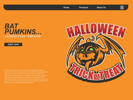 halloween scene by cartoon illustration with smiling pumpkin flying using bath wing . landing page website design template, background and banner 写真素材 - 129995165
