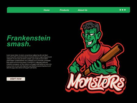 halloween cartoon scene with zombie wearing red t-shirt and holding baseball stick using black background. landing page website design template, background and banner