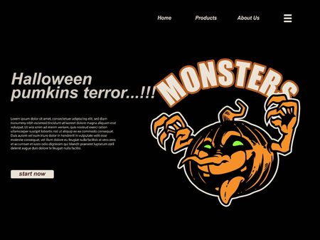 halloween scene by cartoon illustration with smiling spooky pumpkin . landing page website design template, background and banner