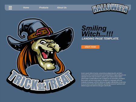 halloween scene by cartoon illustration with scary smiling witch wearing cap using dark purple blue background. landing page website design template, background and banner