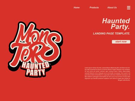 halloween scene by monsters typography using red color and background. landing page website design template, background and banner