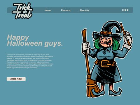 halloween scene by cartoon illustration with a witch is laughing while holding his flying broom and wand. landing page website design template, background and banner