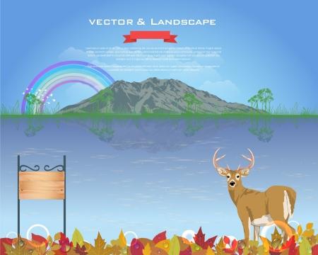 Autumn Season Design Vector Landscape