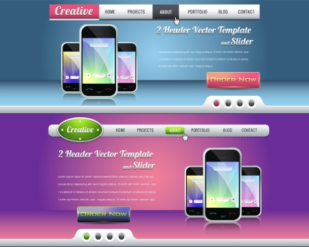application software: Website header and slider design vector elements  Illustration