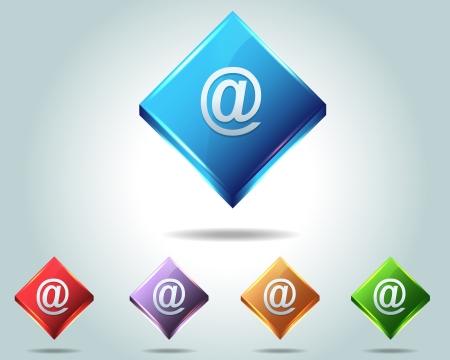 Vector Glossy e-mail Icon Button and multicolored Illustration