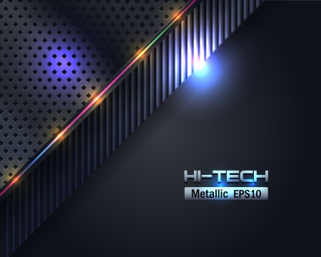 Hi-Tech Metallic Background Vector Design Illustration