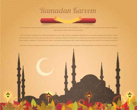 muslim pattern: Ramadan Kareem Design Old Paper Background