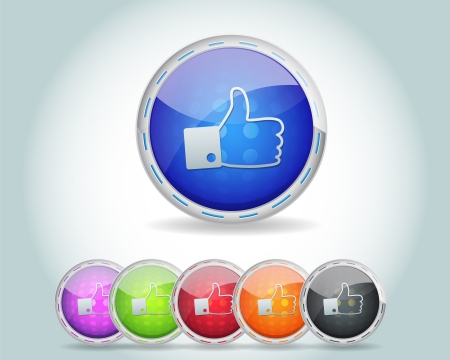 Vector Glossy Round Like Icon Button and multicolored