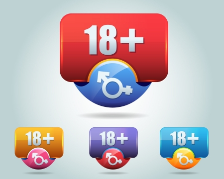 Vector Icon of 18 plus button multicolored Illustration