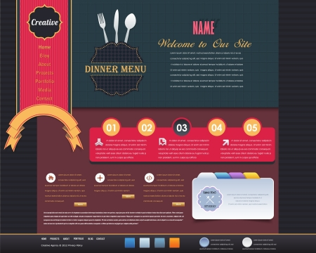 Vintage Website design vector elements Vector