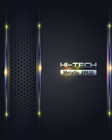 brushed aluminium: Hi-Tech Metallic Background Vector Design Illustration