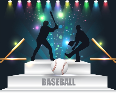 Baseball in Podium Vector Design Abstract Background Illustration