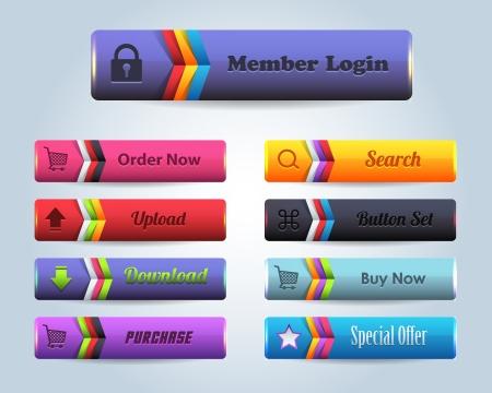 Web Elements Multicolored Shiny Vector Button Set