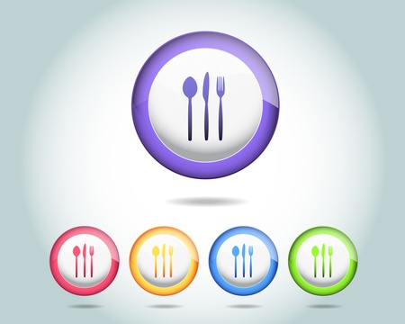 Vector Glossy Dinner icon and multicolored