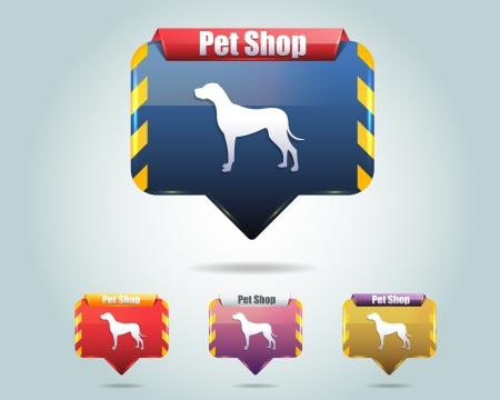 tienda de animales: Vector brillante Pet Shop Icono del bot�n y multicolor