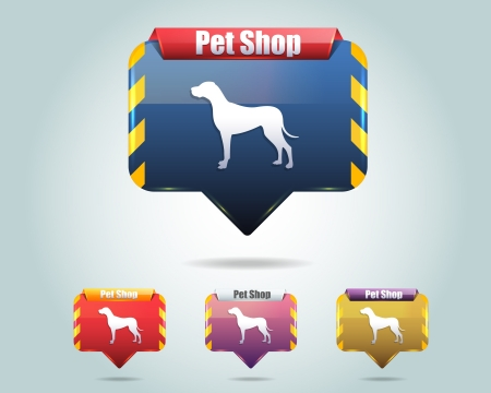 Vector Glossy Pet Shop Icon Button and multicolored Illustration