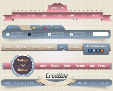 Web Elements Vector Header   Navigation Templates Set Vector