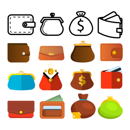 Wallet Icon Set Vector. Money Symbol. Purse Wallet Bag. Payment Sign. Finance Currency Design. Financial Market Object. Reatail Safe. Commerce Pay. Line, Flat Illustration Ilustración de vector