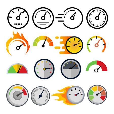 Speedometer Icon Set Vector. Speed Symbol. Auto Power. Automobile Interface. Transportation Element. Fast Indicator. Measure Progress Km. Line, Flat Illustration
