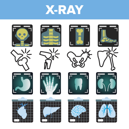X-ray Icon Set Vector. Radiology Scan. Broken Human Bone. Medical Symbol. Fracture Structure. Health Hospital Medicine Design. Line, Flat Illustration