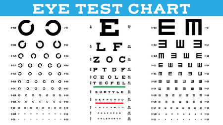 Eye Test Chart Set Vector. Vision Test. Optical Exam. Healthy Sigh. Medical Care. Ophthalmologist, Ophthalmology. Glaucoma. Illustration Illustration
