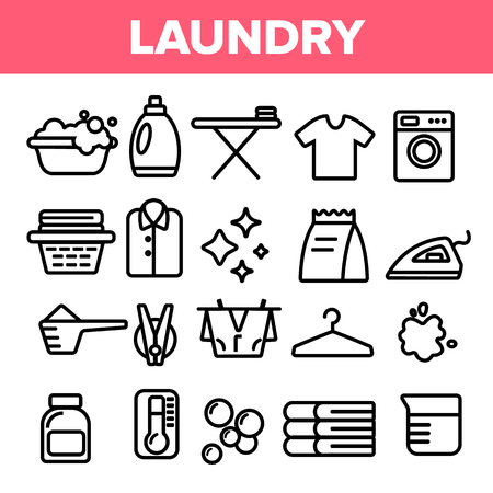 Laundry Line Icon Set Vector. Washing Machine. Clean Dry Cotton. Cloth Laundry Pictogram. Thin Outline Web Illustration