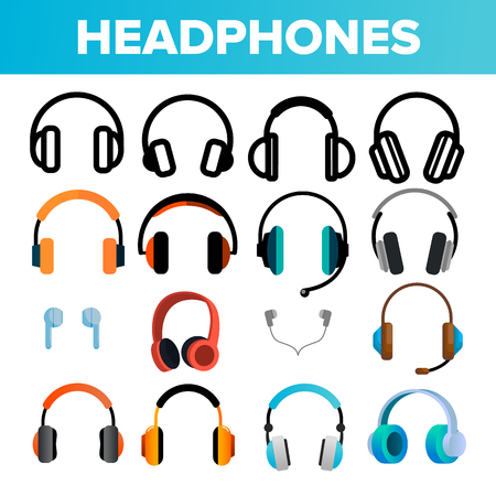 Headphones Icon Set Vector. Audio Stereo Headphones Icons. Volume Symbol. Listen Music. Acoustic Accessory. Line, Flat Illustration Illustration