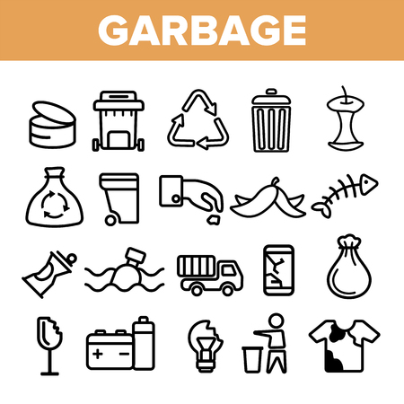 Garbage Recycling Linear Vector Icons Set. Trash, Garbage Thin Line Contour Symbols Pack. Earth Pollution Pictograms Collection. Environment Contamination. Hazardous Waste Outline Illustrations Ilustração