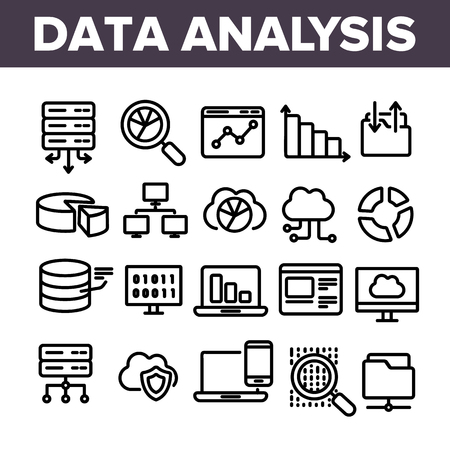 Data Analysis, Web Storage Linear Vector Icons Set. Data Science Thin Line Contour Symbols. Server, Database, Cloud Computing. Diagrams, Statistics, Schemes. Information Analytics Outline Illustrations