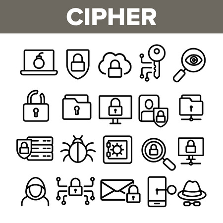 Cipher Linear Vector Icons Set. Information Encryption Thin Line Contour Symbols Pack. Digital Security Pictograms Collection. Privacy, Anonymity, Confidentiality. Cybersecurity Outline Illustrations Illusztráció