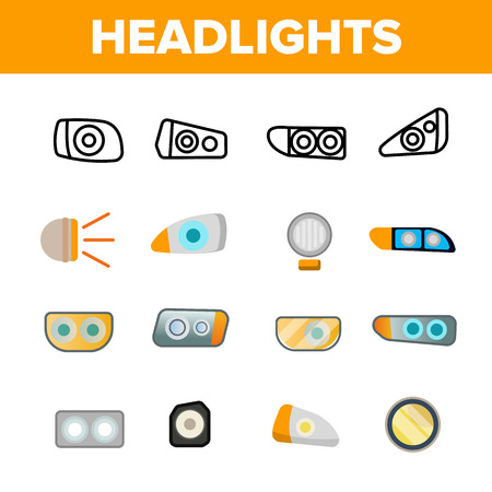 Headlights, Auto Headlamps Linear Vector Icons Set. Headlamps Thin Line Contour Symbols. Automobile Lighting Pictograms Collection. Front Autolamps Flat Cliparts. Car Spotlights Outline Illustrations