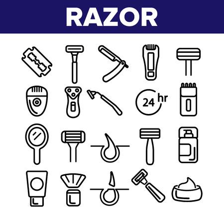 Razor, Shaving Accessories Vector Linear Icons Set. Razor, Male Hygiene Thin Line Illustrations Collection. Modern, Retro Style Shaving Equipment, Electronics. Barbershop Services Contour Pictograms