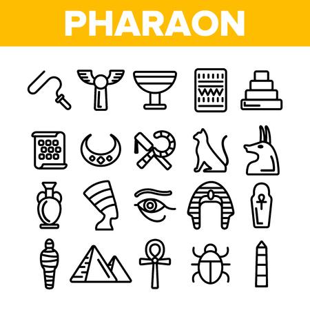 Pharaoh, Egypt King Vector Thin Line Icons Set. Pharaoh Royal Power Symbols Linear Illustrations. Pyramids, Mummy, Hieroglyph. Nefertiti, Anubis Silhouette. Sacred Cat, Scarab Contour Drawings